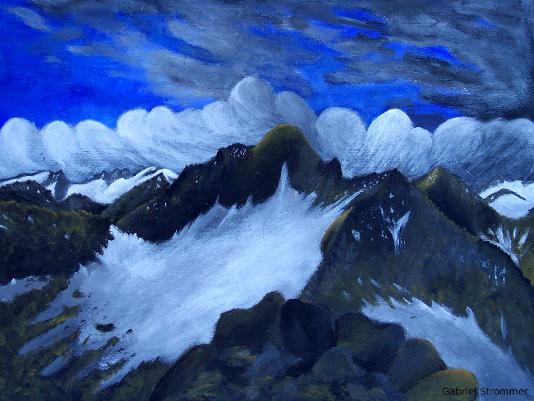 Zeichung des Hohen Eicham vom Säulkopf aus gesehen (Osttirol) (mit Acrylfarben)