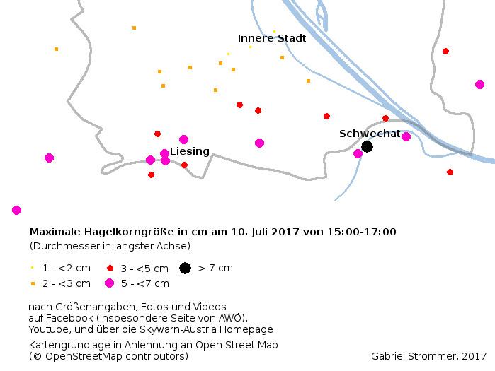 Maximale Hagelgrößen beim Hagelunwetter vom 10. Juli 2017 im Raum Wien