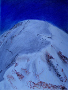 Drawing of the summit of Mont Blanc (France, Italy) (coloured pencil and chalk)