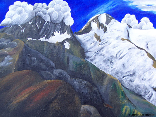 "Painting of ""Daberspitze"" and ""Rötspitze"" (Eastern Tyrol) with old position of the glacier (acrylic colours)"
