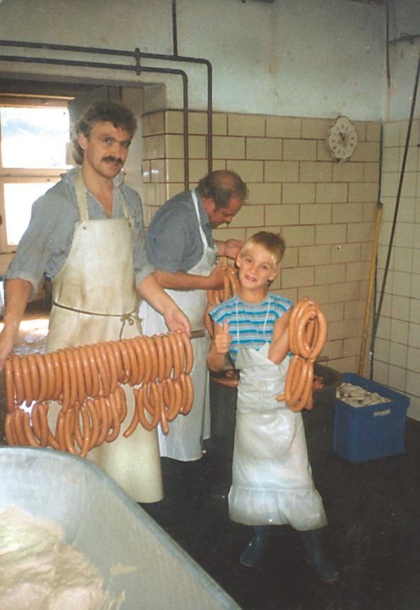 Daniel Herrmann mit Vater Hans-Jörg Herrmann und Josef Herrmann 1991