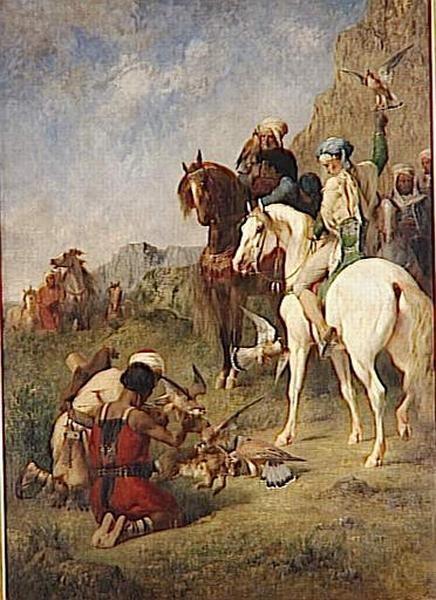 FROMENTIN Chasse au faucon en Algerie ; La curée.