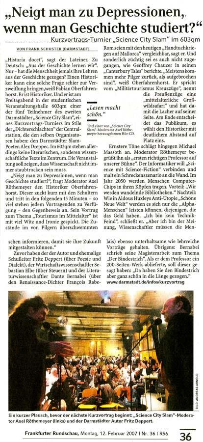 Die Frankfurter Rundschau am 12. Februar 2007