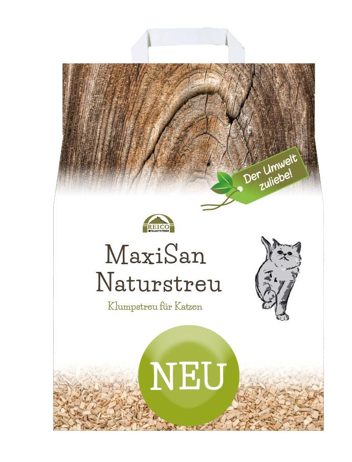 Katzenstreu MaxiSan Naturstreu von Reico Vital, aus 100 % reinen Holzfasern. Der Umwelt zuliebe!