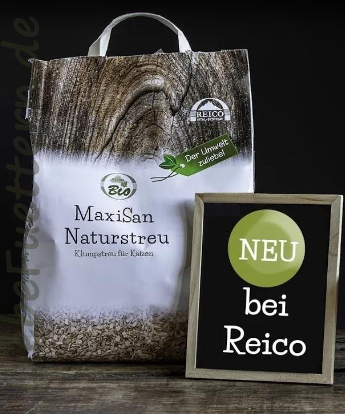 MaxiSan Naturstreu für Katzen von Reico. Klumpstreu für Katzen, 100% Biologisch.
