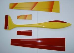 planeur voltij Aeromod jaune rouge démonté