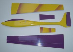 planeur voltij Aeromod jaune violet milka démonté