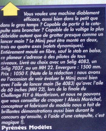 Article sur le Minij Aeromod paru dans le magazine FLY de novembre 1998