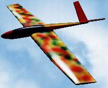 planeur radiocommandé clowny jaune avec taches de couleurs rouge vert noir - entreprise Aeromod