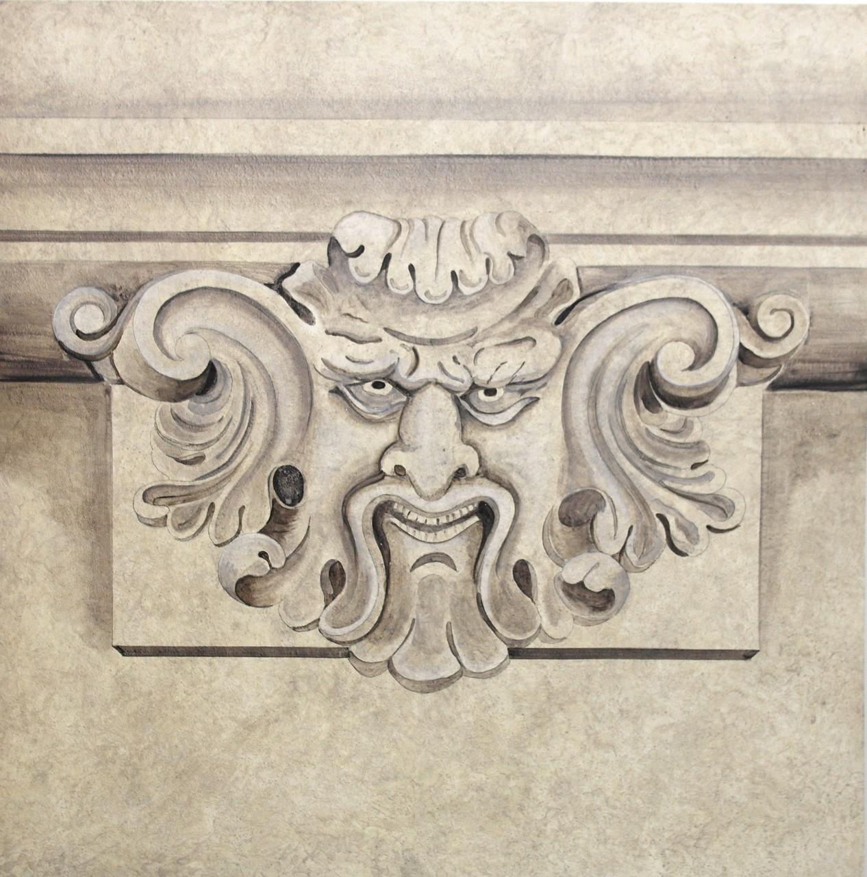 gemaltes Gesicht aus Stein