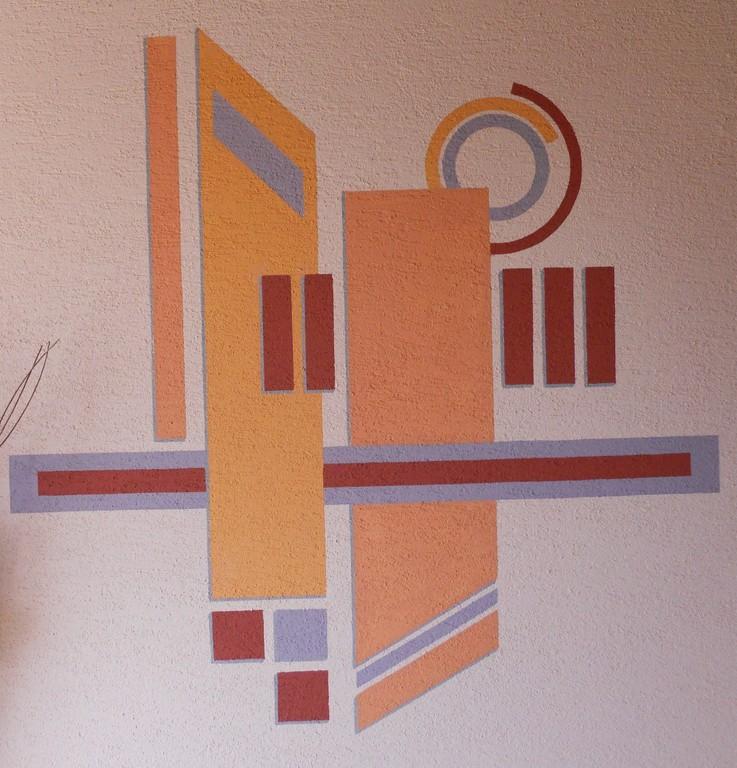 Fassadenanstrich - Grafische färbige Flächenteilung