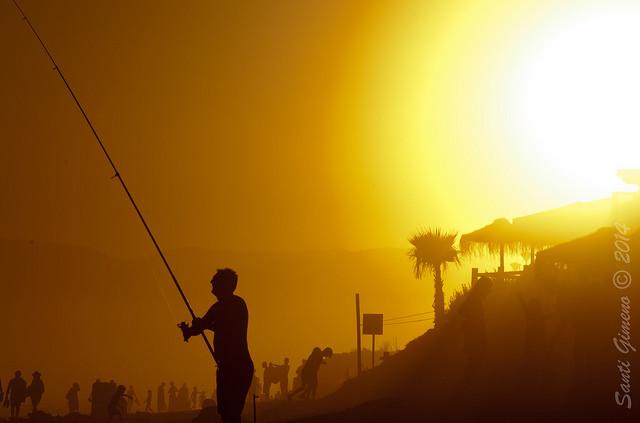 Platja d' Elviria, Marbella, en plena posta de sol l' agost del 2014