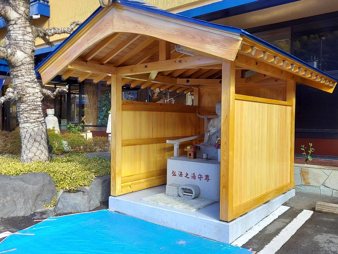 伊豆の国市│長岡弘法様と三輪車小屋木部塗装工事 施工実績