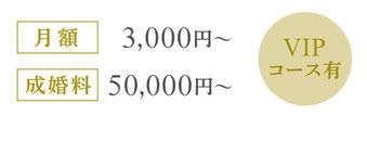 月額3,000円~ 成婚料50,000円~ 1年で結婚するためのVIPコース有 リーズナブルなコースから確実なコースまで