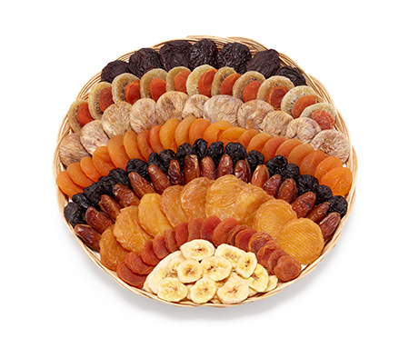 Art. 950204 Sunset  Feigen, Aprikosen, Birnen, Weichspeckbirnen, Pflaumen, Datteln, Kiwi, Bananen    Korb: 35 x 35 x 5 cm  Verpackung: Karton 1 x 1450 g