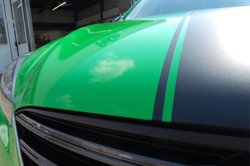 Mazda CX5 Folierung Hexis Grün GT Streifen schwarz matt