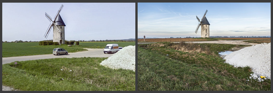 A l'ombre d'un moulin situé en pleine campagne une voiture est garée à l'arrière d'une camionnette. Un client a pris place dans la chambre roulante.