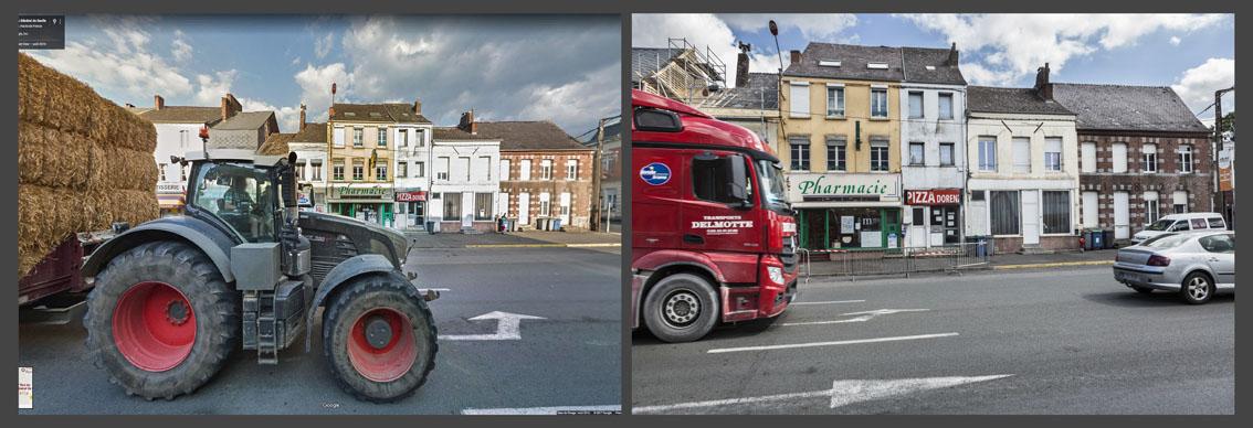 Devant la pharmacie de Pierre, les camions succèdent aux tracteurs.