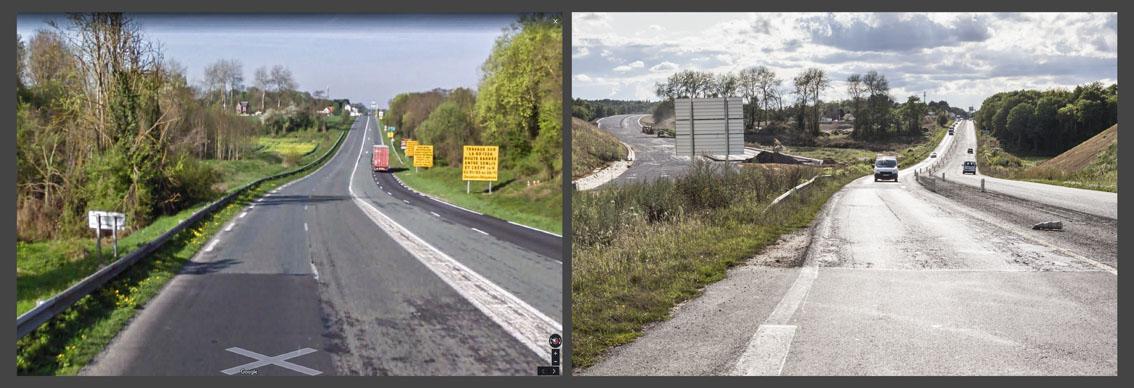 Construction d'une nouvelle autoroute à travers la forêt.
