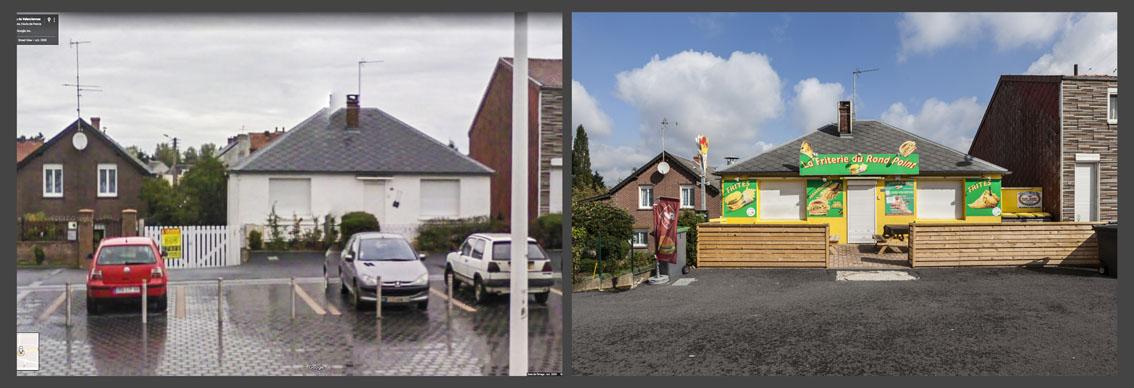 Á l'approche de la frontière Belge, une maison est transformée en friterie.