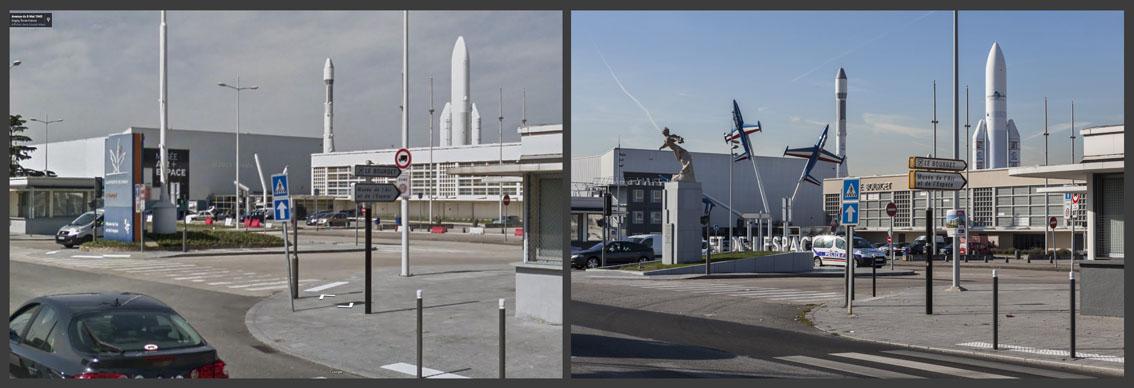 Les avions installés devant le Musée de l'Air sont partis faire une balade pendant que la fusée Ariane a retrouvé des couleurs. Un monument avec une sculpture a fait son apparition.