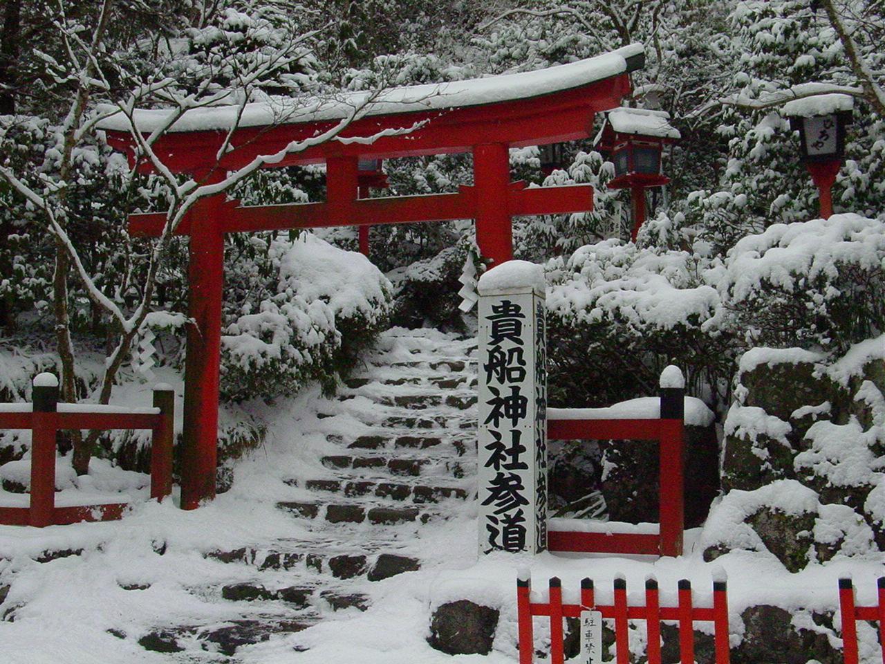 貴船神社も雪化粧