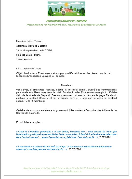 Courrier à Julien Riviere 2ieme maire Adjoint et 2ieme vice président de CCPH