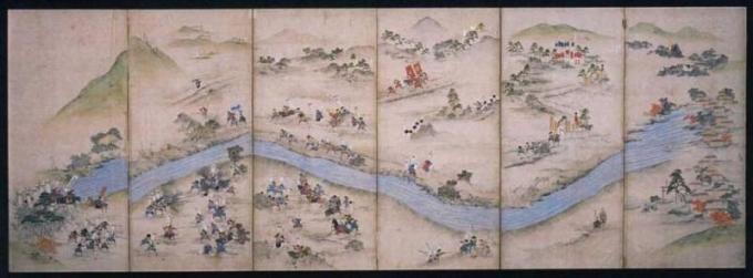 Battle of Sekigahara ,        The 2nd from right:  Matsudaira  Tadayoshi , Lord of Oshi-han