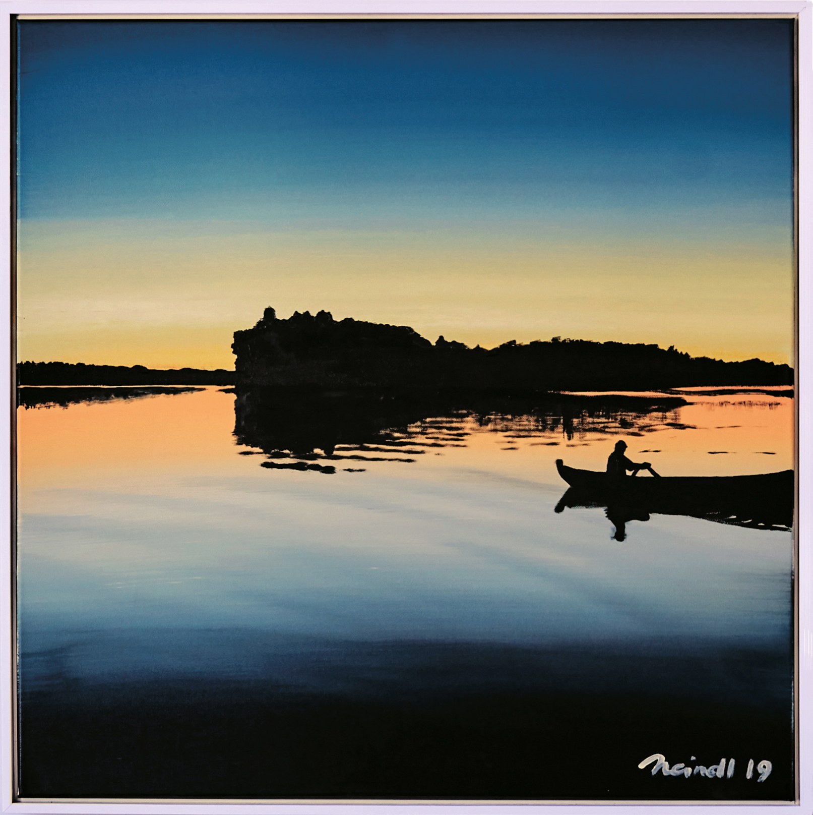 ›Salajärvi I‹, Acryl auf Leinwand, 73 x 73 cm, 2019