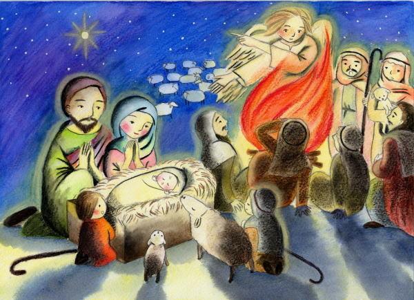 「きょうダビデの町で、あなたがたのために、救い主がお生まれになりました。この方こそ主キリストです。」                                ルカの福音書2章11節