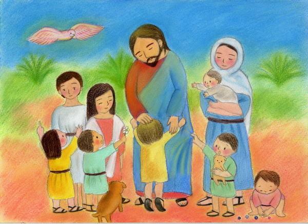 「そしてイエスは子どもたちを抱き、彼らの上に手を置いて祝福された。」マルコの福音書  10章16節