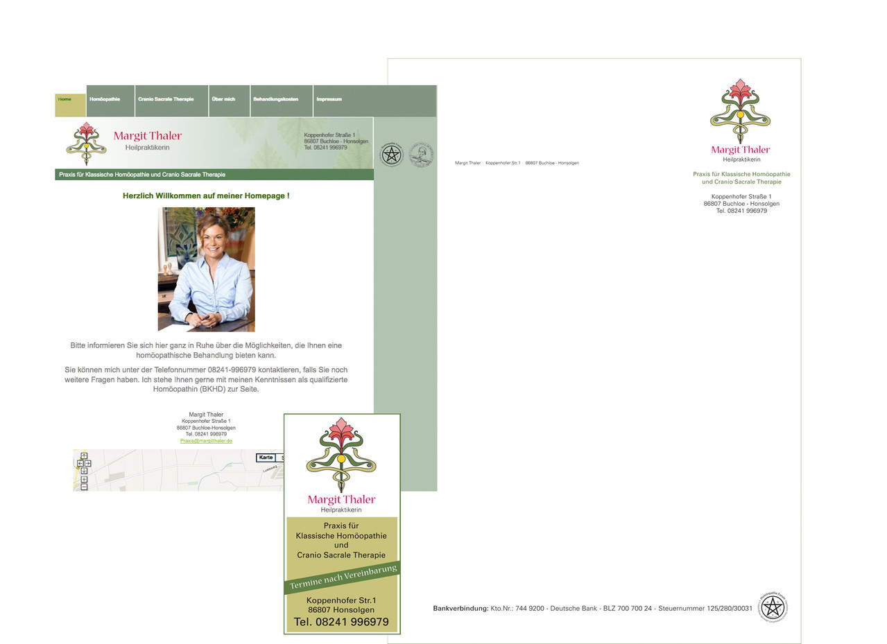 Margit Thaler: Logo, Geschäftsausstattung, Schilder, Anzeigen, Website