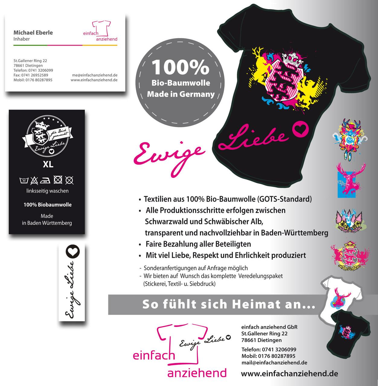 Einfach Anziehend (Eigenmarke Ewige Liebe): Mailing, Visitenkarten, T-Shirt-lables. etc.